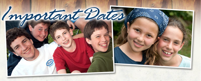 Important Dates for Camp Walden Co-Ed Summer Overnight Camp